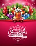 Vector a ilustração do Natal com projeto tipográfico e elementos brilhantes do feriado no fundo vermelho Fotografia de Stock Royalty Free