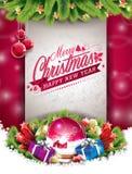 Vector a ilustração do Natal com projeto tipográfico e elementos brilhantes do feriado no fundo vermelho Imagem de Stock Royalty Free