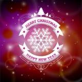 Vector a ilustração do Natal com projeto tipográfico no fundo brilhante Fotos de Stock Royalty Free