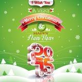 Vector a ilustração do Natal com projeto tipográfico no fundo da paisagem Fotos de Stock Royalty Free