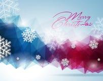 Vector a ilustração do Natal com projeto tipográfico no fundo dos flocos de neve Fotografia de Stock
