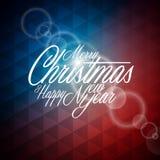 Vector a ilustração do Natal com projeto tipográfico no fundo geométrico abstrato Fotografia de Stock Royalty Free