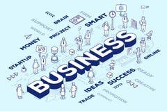 Vector a ilustração do negócio tridimensional da palavra com peop Fotos de Stock
