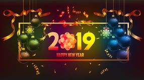 Vector a ilustração do ouro 2019 do ano novo feliz e do lugar preto das cores para bolas do Natal do texto
