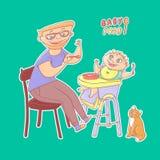Vector a ilustração do pai da etiqueta com comida para bebê dos vidros e das alimentações da barba à criança pequena com colher,  ilustração do vetor