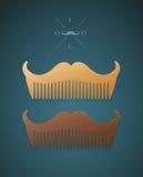 Vector a ilustração do pente à moda na forma dos bigodes Imagens de Stock Royalty Free