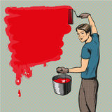 Vector a ilustração do pintor de casa no estilo retro do pop art ilustração royalty free