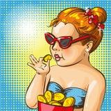 Vector a ilustração do pop art da menina que joga com moedas de ouro ilustração royalty free