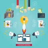 Vector a ilustração do serviço crowdfunding, ideia nova do negócio Foto de Stock
