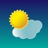 Vector a ilustração do sol do ícone do tempo com nuvem Fotos de Stock