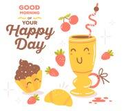Vector a ilustração do tema vermelho e amarelo colorido s do café da manhã Imagem de Stock Royalty Free