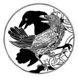 Vector a ilustração do teste padrão gravado do corvo e da sombra preto e branco ilustração royalty free