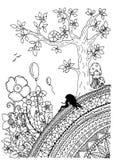 Vector a ilustração do trabalho feito a mão, menina do zentangl que senta-se em uma montanha Desenho da garatuja Esforço da págin Imagens de Stock Royalty Free