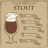 Vector a ilustração do vintage do cartão com receita da cerveja de malte Os ingredientes são escritos em fitas Fotografia de Stock Royalty Free