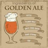 Vector a ilustração do vintage do cartão com receita da cerveja inglesa dourada Os ingredientes são escritos em fitas Fotos de Stock