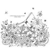 Vector a ilustração do zentangle floral do quadro, rabiscando Zenart, garatuja, flores, borboletas, delicado, bonitas Imagem de Stock