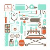 Vector a ilustração dos ícones da saúde e da medicina ajustados no estilo liso dos desenhos animados ilustração do vetor