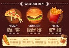 Vector a ilustração dos desenhos animados de um menu do restaurante do fast food do projeto Foto de Stock