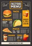 Vector a ilustração dos desenhos animados de um menu do restaurante do fast food do projeto Imagem de Stock