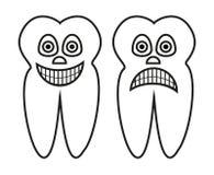 Vector a ilustração dos desenhos animados do esboço do dente saudável e do dente podre Fotos de Stock