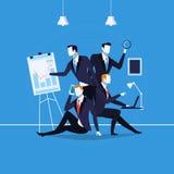Vector a ilustração dos executivos no trabalho no estilo liso ilustração do vetor