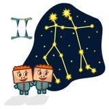 Vector a ilustração dos Gêmeos com as caras retangulares Foto de Stock Royalty Free