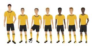 Vector a ilustração dos jogadores de futebol novos team com o instrutor do treinador que veste o uniforme Equipe de futebol ilustração do vetor