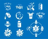 Vector a ilustração dos logotipos frescos do leite da leiteria, selos para o produto natural leitoso ilustração royalty free