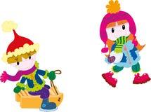 Miúdos que jogam no inverno ilustração do vetor
