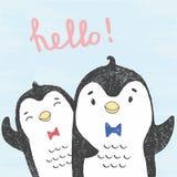 Vector a ilustração dos pinguins amigáveis tirados mão do esboço isolados em um fundo azul do grunge com rotulação olá!! ilustração royalty free