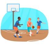 Vector a ilustração dos povos que jogam o basquetebol no campo de jogos ilustração stock