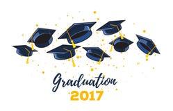 Vector a ilustração dos tampões do graduado do preto e dos confetes amarelos o Foto de Stock Royalty Free
