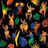 Vector a ilustração em meninas lisas retros do carnaval do estilo, em mulheres e em jovens dos homens Dançarinos brasileiros do s Foto de Stock