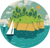 Vector a ilustração em um círculo com uma ilha ensolarada no meio do oceano ilustração stock