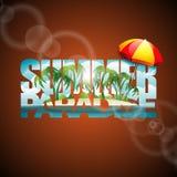 Vector a ilustração em um tema das férias de verão com o para-sol no fundo do seascape Imagens de Stock