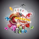 Vector a ilustração em um tema do casino com a cor que joga microplaquetas e cartões do pôquer no fundo escuro Fotos de Stock Royalty Free