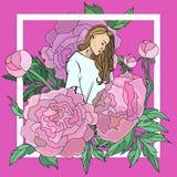 Vector a ilustração estilizado com a imagem de uma menina bonita nova descrita nas cores das peônias Forma ilustração do vetor