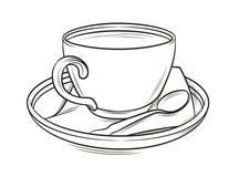 Vector a ilustração gráfica preto e branco de um copo de café com placa e colher Fotografia de Stock