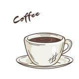 Vector a ilustração imprimível da xícara de café isolada com etiqueta Imagens de Stock Royalty Free