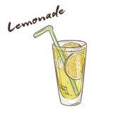 Vector a ilustração imprimível do copo isolado da limonada com etiqueta Foto de Stock