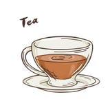 Vector a ilustração imprimível do copo isolado do chá com etiqueta Foto de Stock Royalty Free