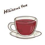 Vector a ilustração imprimível do copo isolado do chá do hibiscus com etiqueta Fotografia de Stock Royalty Free