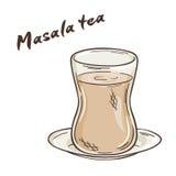 Vector a ilustração imprimível do copo isolado do chá do masala com etiqueta Imagens de Stock Royalty Free