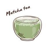 Vector a ilustração imprimível do copo isolado do chá do matcha com etiqueta Fotos de Stock Royalty Free
