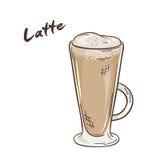 Vector a ilustração imprimível do copo isolado do latte com etiqueta Imagem de Stock