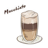 Vector a ilustração imprimível do copo isolado do macchiato com etiqueta Foto de Stock