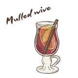 Vector a ilustração imprimível do copo isolado do vinho ferventado com especiarias com etiqueta Fotografia de Stock Royalty Free
