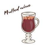 Vector a ilustração imprimível do copo isolado do vinho ferventado com especiarias com etiqueta Imagens de Stock