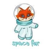 Vector a ilustração imprimível tirada mão do astronauta da raposa com etiqueta - espace a raposa Fotos de Stock Royalty Free