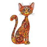 Vector a ilustração imprimível tirada mão do gato de assento do zentangle Pode ser imprimido na caneca, descanso, t-shirt Imagens de Stock